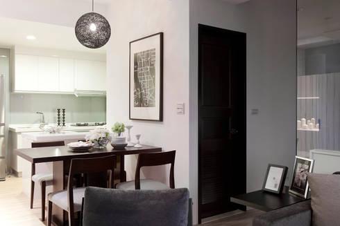 單身貴族的最愛~現代質感與創意機能滿分:  餐廳 by 大集國際室內裝修設計工程有限公司
