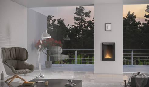Wkład do zabudowy we wnęce Frame 550: styl , w kategorii Salon zaprojektowany przez Hanoo