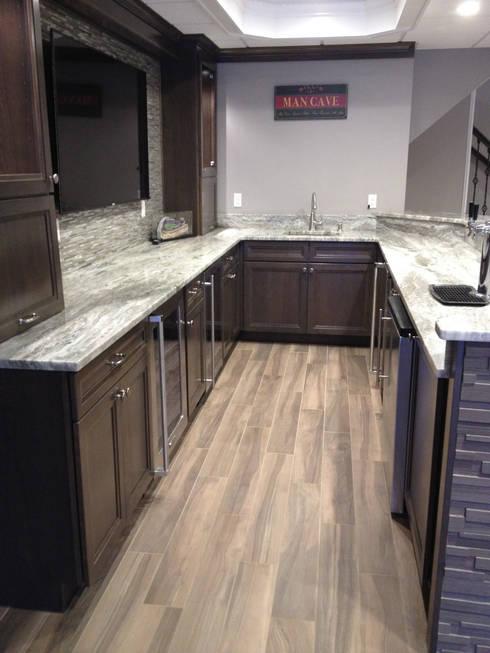 Basking Ridge Basement Bar!:  Wine cellar by Kitchen Krafter Design/Remodel Showroom