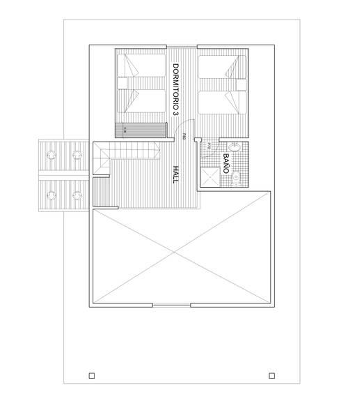 Planta 2: Dormitorios de estilo  por Arquitectura y Construcción Chinquel