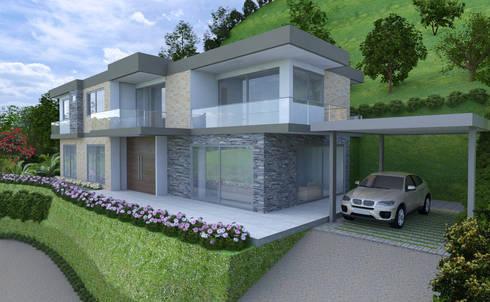 Fachada Casa 1 Parcelación Las Brisas: Casas de estilo moderno por Alejo Gallego /Diseño de espacios y visualización 3D