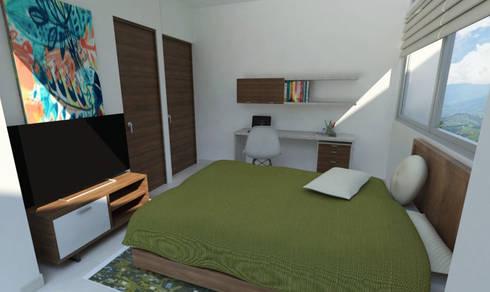 Habitación 2: Habitaciones de estilo moderno por Alejo Gallego /Diseño de espacios y visualización 3D