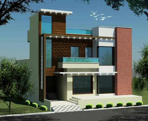 MR. VINOD GARG HOUSE AT FATEHABAD: modern Houses by Dream Homes Architect