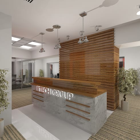 Reception:  Office buildings by Gurooji Design