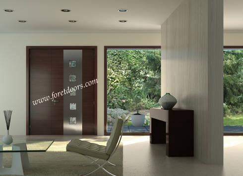Modern solid wood door with windows and vertical stainless steel strip:  Windows & doors  by Foret Doors