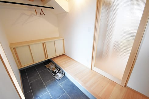 広さと使いやすさを重視した玄関スペース: 合同会社negla設計室が手掛けた玄関・廊下・階段です。
