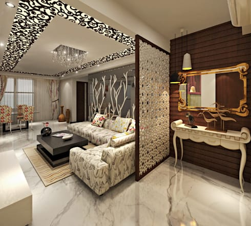 Living Foyer Area: asian Living room by Design Consultant