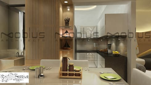 Rhythm Apartment: modern Dining room by Mobius Architects