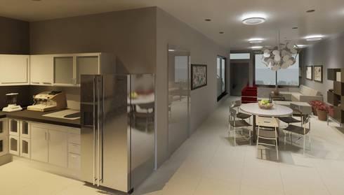 vista interna cocina- sala -comedor: Cocinas de estilo minimalista por Diseño Store