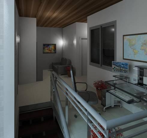 vista del area de llegada a planta alta: Salas de entretenimiento de estilo minimalista por Diseño Store