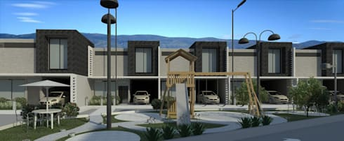 vista frontal de uno de los lados del conjunto: Casas de estilo minimalista por Diseño Store