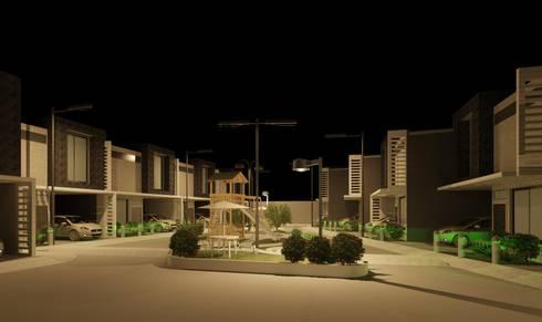 Vista en nocturna del conjunto: Casas de estilo minimalista por Diseño Store