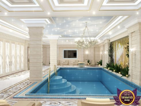 Pool Design of Katrina Antonovich, Paradise Oasis in Your Own Home: classic Spa by Luxury Antonovich Design
