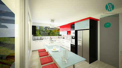 Cocina en Vivienda Unifamiliar: Cocina de estilo  por Vanguardia Arquitectónica