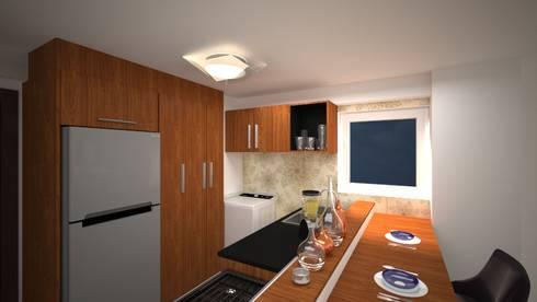 Cocina en apartamento: Cocina de estilo  por Vanguardia Arquitectónica