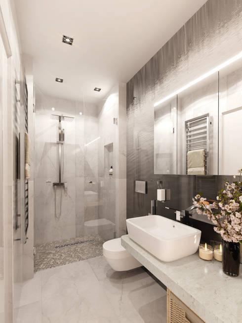 Однокомнатная квартира-трансформер: Ванные комнаты в . Автор – Архитектурное бюро Лены Гординой