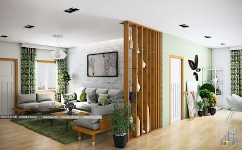 3D VISUALIZATION: scandinavian Living room by FREELANCE