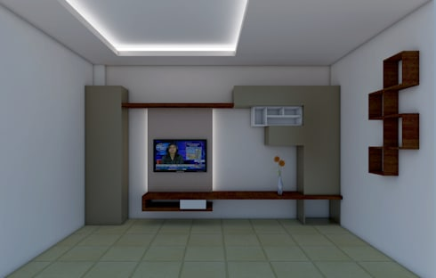 LIVING AREA FALSE CEILING AND TV CABINET: modern Living room by Shitiz architects