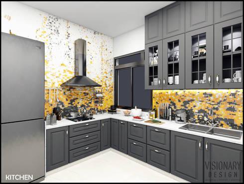 KITCHEN: minimalistic Kitchen by VISIONARY DESIGN