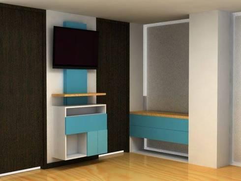 centro de tv para habitacion: Sala multimedia de estilo  por Camargo estudio creativo