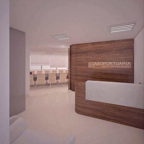 Recepción : Oficinas y Tiendas de estilo  por Fiallo Design Studio