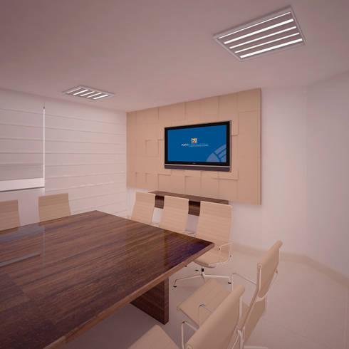 Modulo para Pared en Madera: Oficinas y Tiendas de estilo  por Fiallo Design Studio