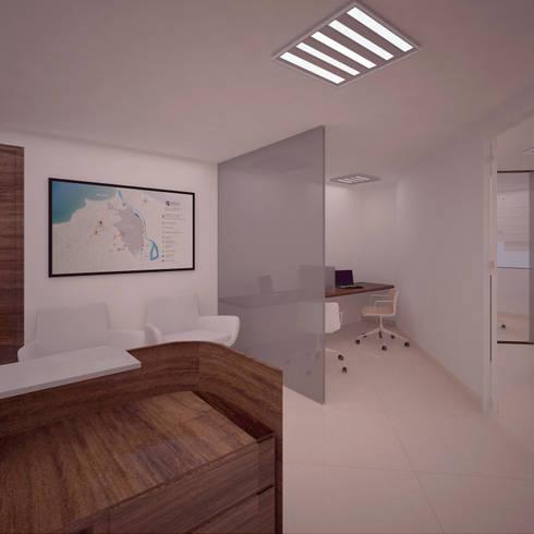 Oficina Auxiliar : Oficinas y Tiendas de estilo  por Fiallo Design Studio