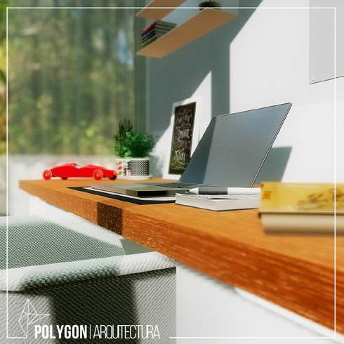 Visualizacion 3D estudio Workshop: Estudios y despachos de estilo minimalista por Polygon Arquitectura