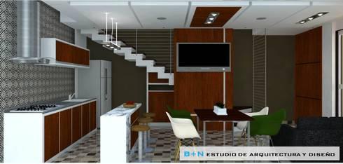 VISTA GENERAL ZONA SOCIAL 02:  de estilo  por B+N Estudio de Arquitectura y Diseño