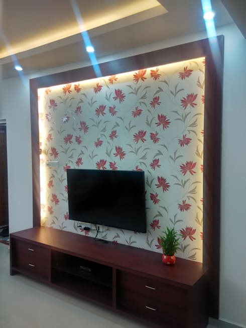 A 3 BHK Flat :  Living room by Exinfra Projects