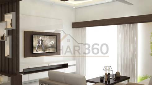 Living Room TV Unit: By Ghar360