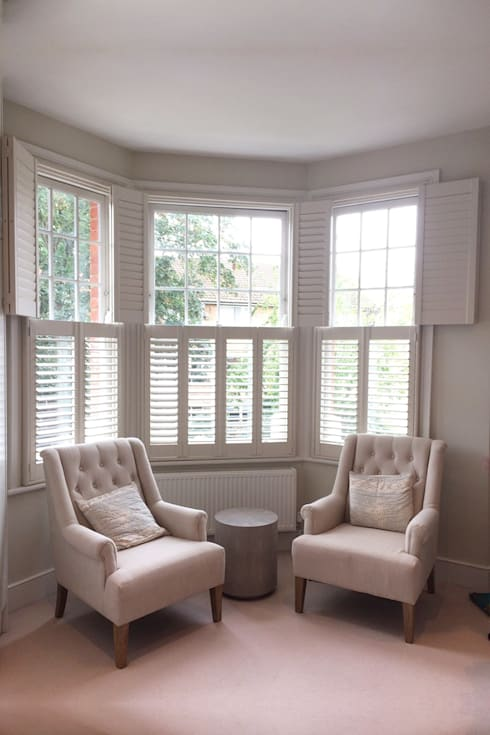 Bon Living Room Shutters For Bay Windows: Modern Living Room By Plantation  Shutters Ltd