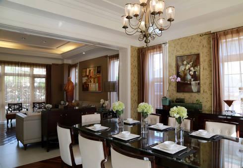 客餐廳:  餐廳 by 漢品室內設計