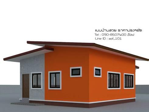 แบบบ้านพักอาศัย ชั้นเดียว 2 ห้องนอน 1 ห้องน้ำ (A1-091):   by aof_101
