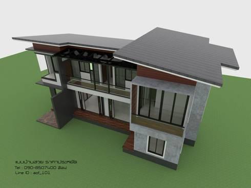 แบบบ้านพักอาศัย 2 ชั้น 3 ห้องนอน 2 ห้องน้ำ (A2-026):   by aof_101