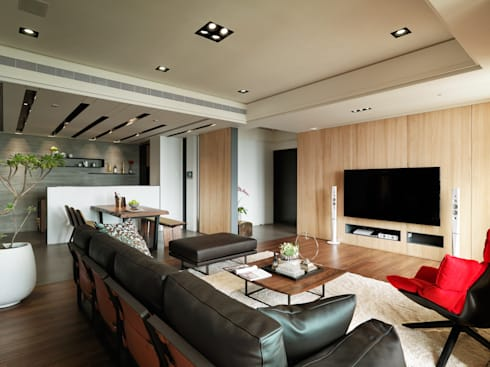 麗寶雙璽:  客廳 by 星葉室內裝修有限公司