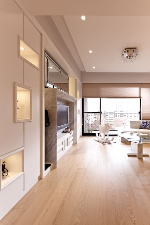 白色巧克力 white chocolate:  客廳 by 耀昀創意設計有限公司/Alfonso Ideas