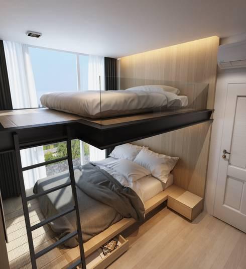 เตียงสองชั้น:  ห้องนอน by ramรับออกแบบตกแต่งภายใน