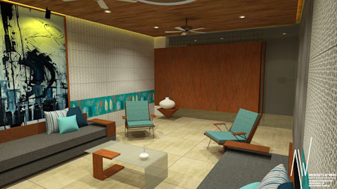 Interior of Ishwarbhai: modern Living room by Architects at Work