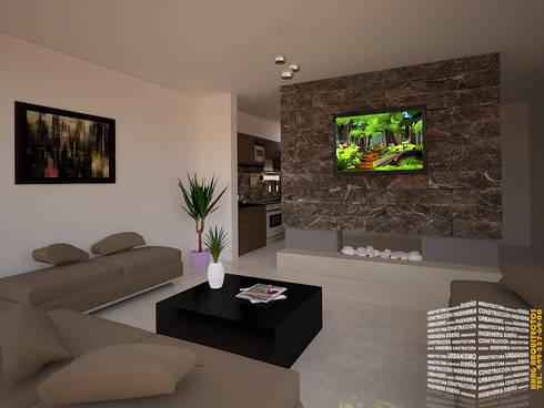 Sala tv muro divisorio de hhrg arquitectos homify for Casa clasica caracas