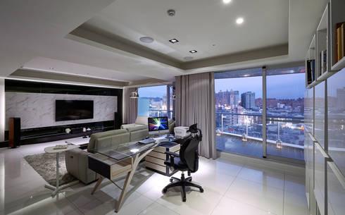 太極 Yin Yang:  書房/辦公室 by Glocal Architecture Office (G.A.O) 吳宗憲建築師事務所/安藤國際室內裝修工程有限公司