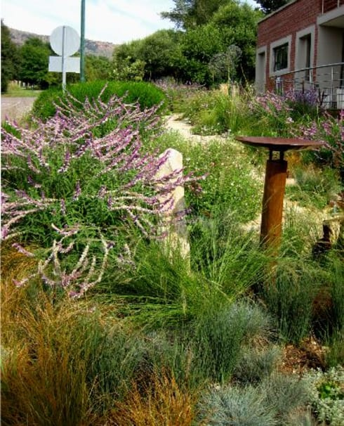 Prairie Style Front Garden: modern Garage/shed by Young Landscape Design Studio