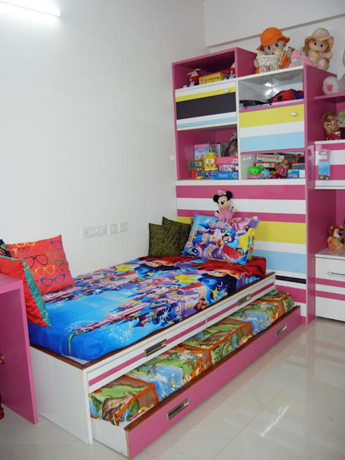 Kids bedroom - bed and storage unit:  Bedroom by Interiors By Suniti