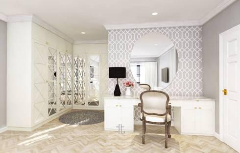 ภาพ 3มิติ ห้องนอนใหญ่ : 3D Perspective Master Bedroom:  ห้องแต่งตัว by เหนือ ดีไซน์ สตูดิโอ (North Design Studio)