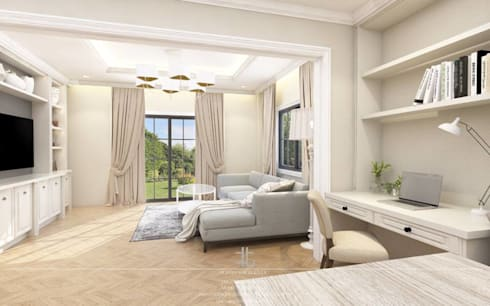 ภาพ 3มิติ พื้นที่รับแขก : 3D Perspective Living Area:  ห้องนั่งเล่น by เหนือ ดีไซน์ สตูดิโอ (North Design Studio)