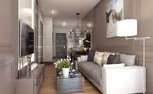 ตกแต่งคอนโดแนวหรูหรา The Astra Condo:  ห้องนั่งเล่น by เหนือ ดีไซน์ สตูดิโอ (North Design Studio)