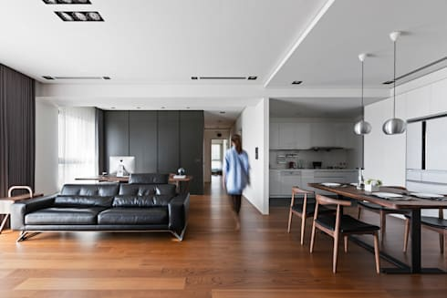 走廊:  客廳 by 一水一木設計工作室