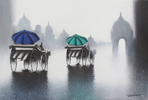 Rhythmic monsoon ride:  Artwork by Indian Art Ideas