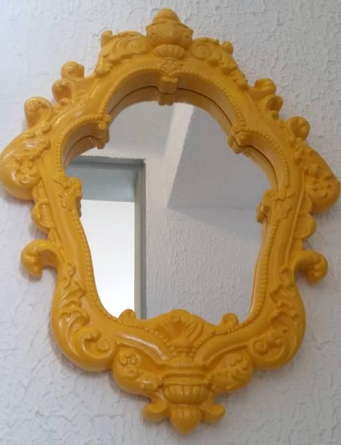 Depois - lavabo com espelho: Banheiros ecléticos por PRISCILLA BORGES ARQUITETURA E INTERIORES