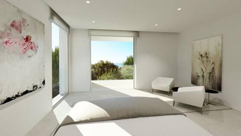 Refurbishment of existing house and pool in Santa Ponsa: modern Bedroom by Tono Vila Architecture & Design